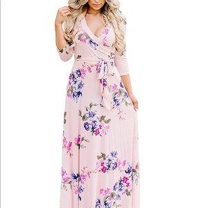 Dresses & Skirts - NWT🎉 Boutique Pink Floral Wrap Long Dress